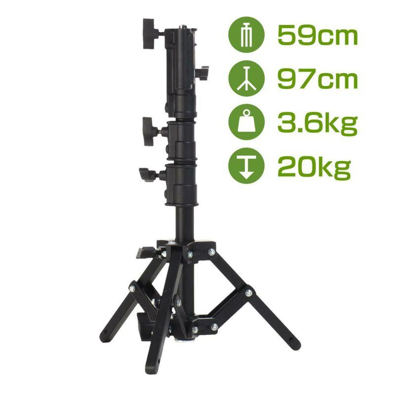 耐荷重20kgのスチール製ライトスタンド 最大高97cmPS-B300